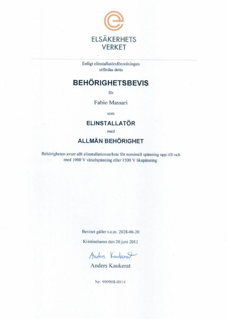 Swedish Certification